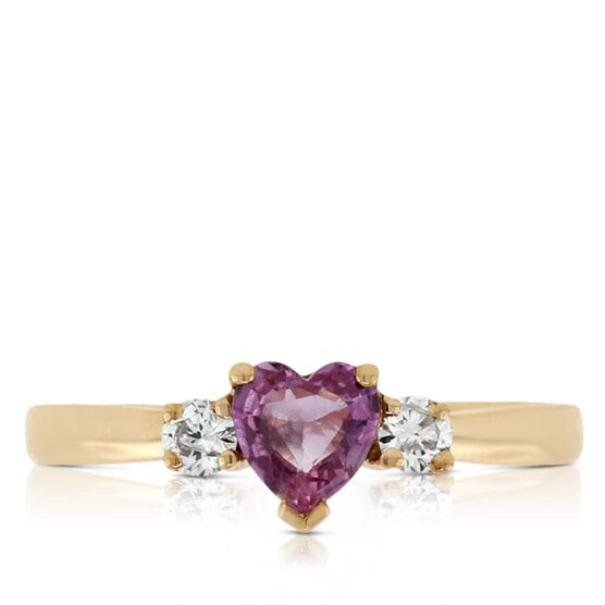 Pink Sapphire & Diamond Heart Ring 14K