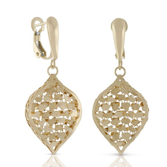 Toscano Collection Teardrop Cutout Dangle Earrings 18K