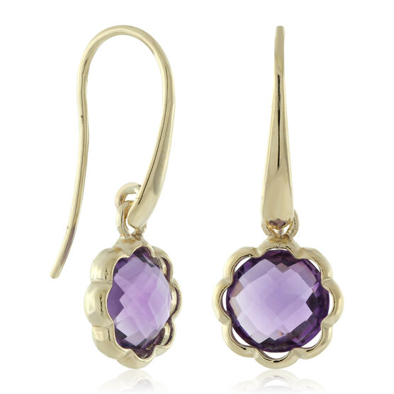 Scalloped Bezel Amethyst Earrings 14K