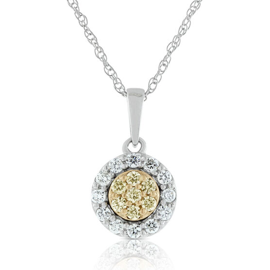Yellow & White Diamond Pavé Pendant 14K