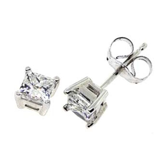 Princess Cut Diamond Solitaire Earrings 14K, 3/4 ctw.