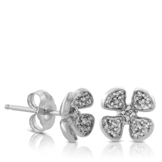 Diamond Flower Earrings 14K