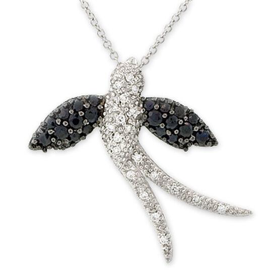 Diamond & Sapphire Bird Pendant / Pin 14K