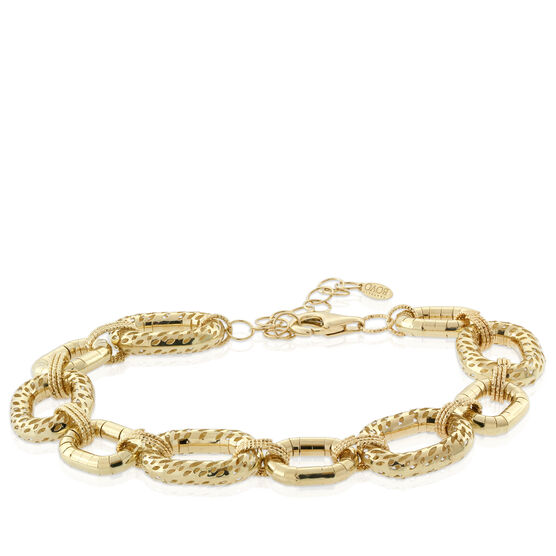 Toscano Alternating Oval Link Bracelet 18K