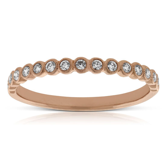 Rose Gold Bezel Diamond Band 14K