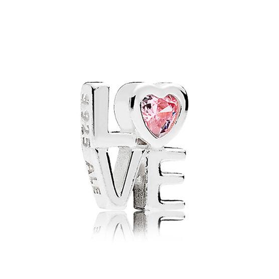 PANDORA Petite Element Pink CZ LOVE Charm