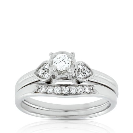 Diamond Heart Bridal Set 14K
