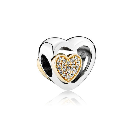 PANDORA Joined Together Heart Charm, Silver & 14K