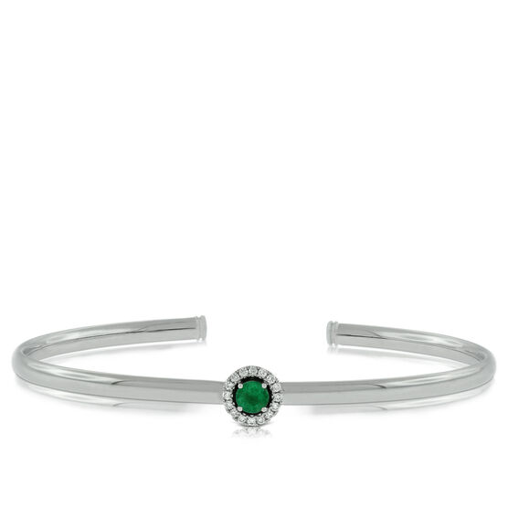 Emerald & Diamond Cuff Bracelet 14K
