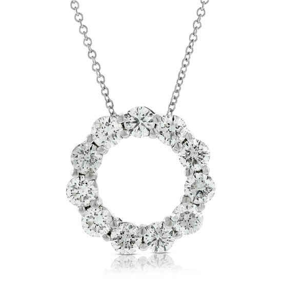 Circle Diamond Pendant 14K