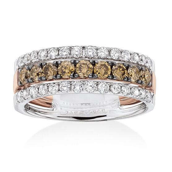 Brown & White Diamond Band 14K