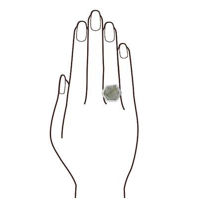 Lisa Bridge Hexagonal Labradorite & Diamond Ring