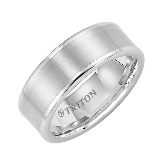 TRITON Men's Band in White Tungsten