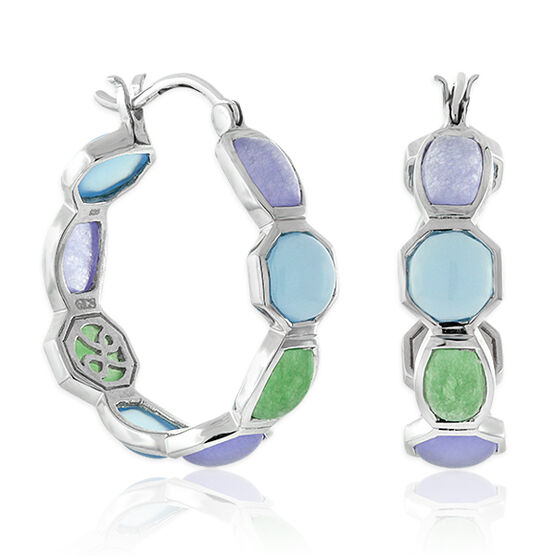 Lisa Bridge Chalcedony & Agate Hoop Earrings