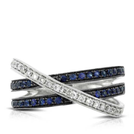 Sapphire & Diamond Criss-Cross Ring 14K