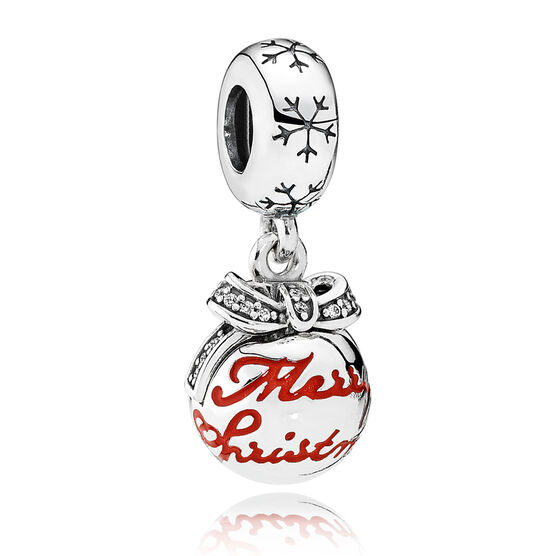 PANDORA Merry Christmas Dangle Charm, Red Enamel & Clear CZ