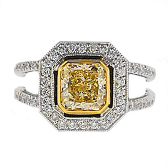 Diamond Ring in Platinum & 18K, 1.52 ct. Natural Fancy Light Yellow Diamond Center