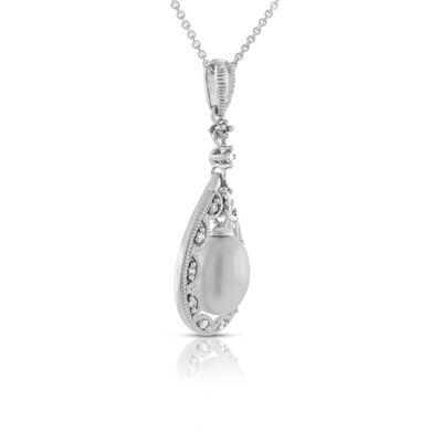 Freshwater Cultured Pearl & Diamond Pendant 14K