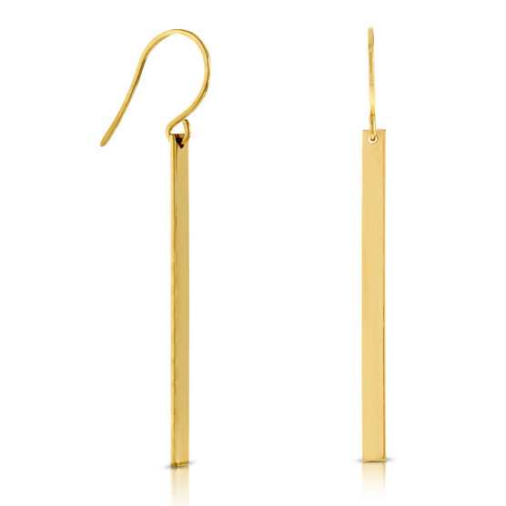 Gold Bar Dangle Earrings 14K
