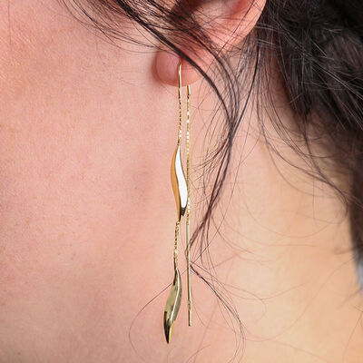 Swirl Threader Earrings 14K
