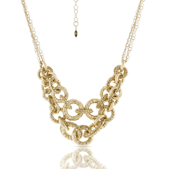 Toscano Collection Double Strand Golden Link Necklace 18K