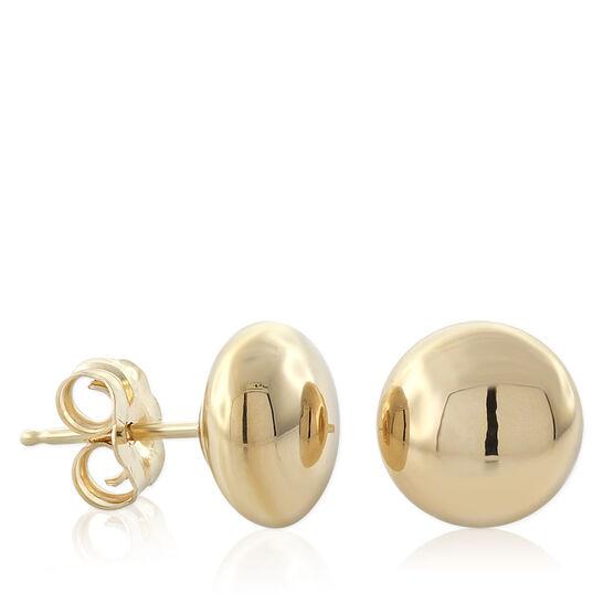 Gold Button Earrings 8mm 14K