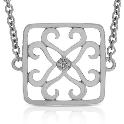 Diamond Square Bracelet in Sterling Silver