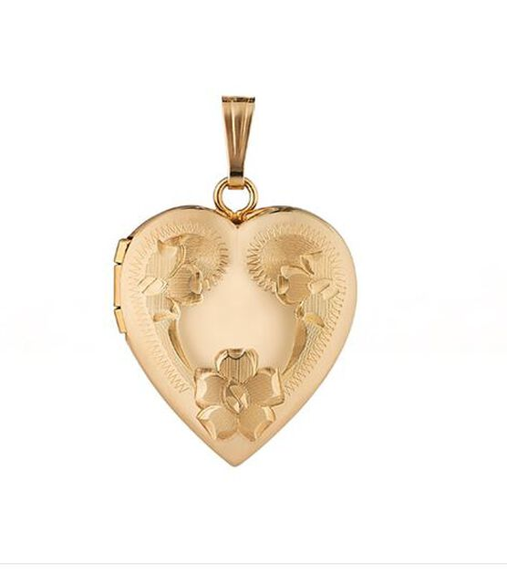 Hand Engraved Heart Locket 14K