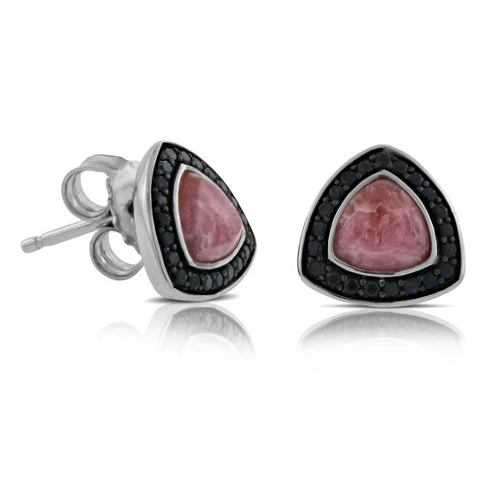 Lisa Bridge Rhodochrosite & Black Sapphire Earrings