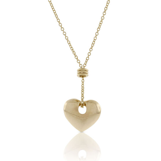 Toscano Domed Heart Drop Necklace 18K