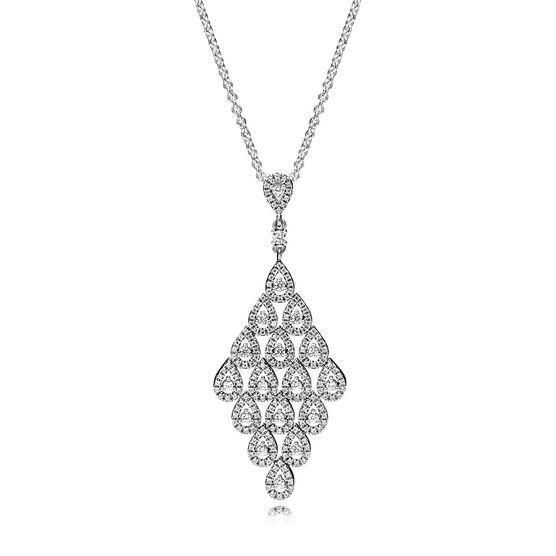 PANDORA Cascading Glamour CZ Necklace & Pendant