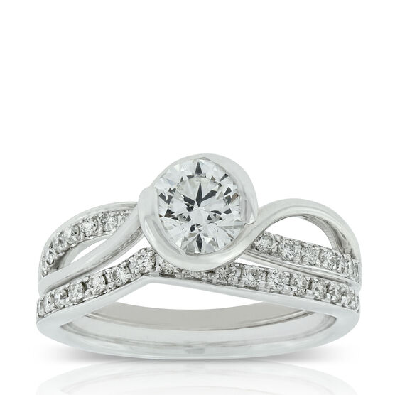 Bezel Diamond Wedding Set 14K