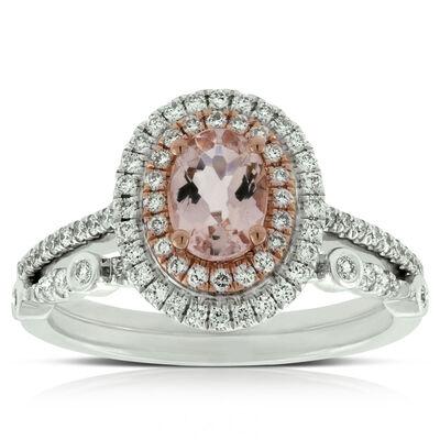 morganite diamond bridal set - Gemstone Wedding Rings