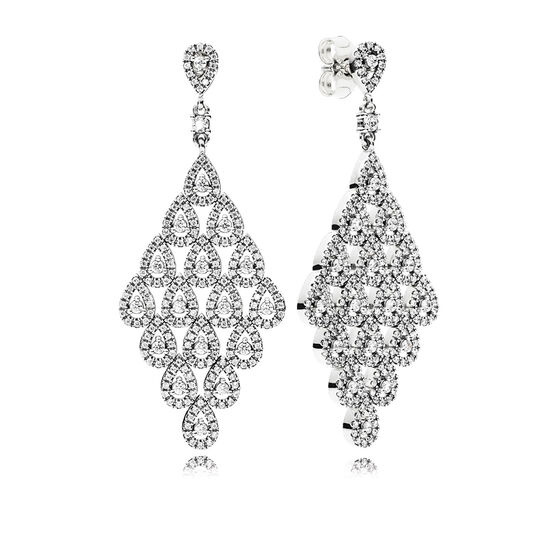 PANDORA Cascading Glamour Chandelier CZ Earrings
