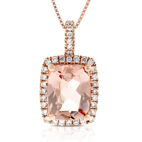 Morganite & Diamond Pendant 14K Rose