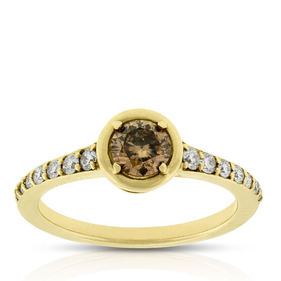 Brown & White Diamond Ring 14K