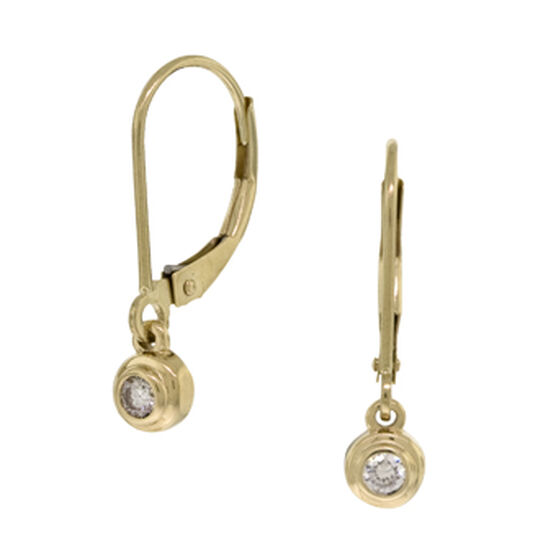 Bezel Set Diamond Earrings 14K