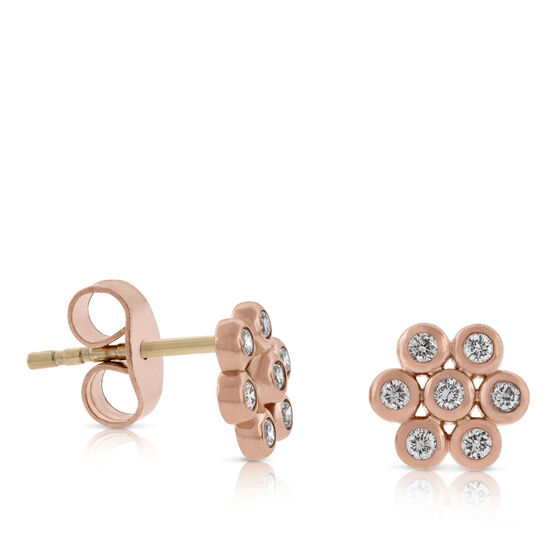 Rose Gold Floral Diamond Earrings, 14K