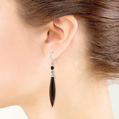 Lisa Bridge Tiger's Eye & Black Onyx Dangle Earrings