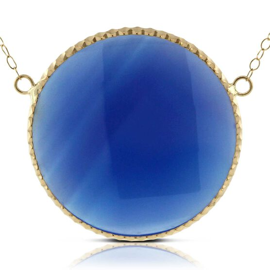 Blue Agate Necklace 14K