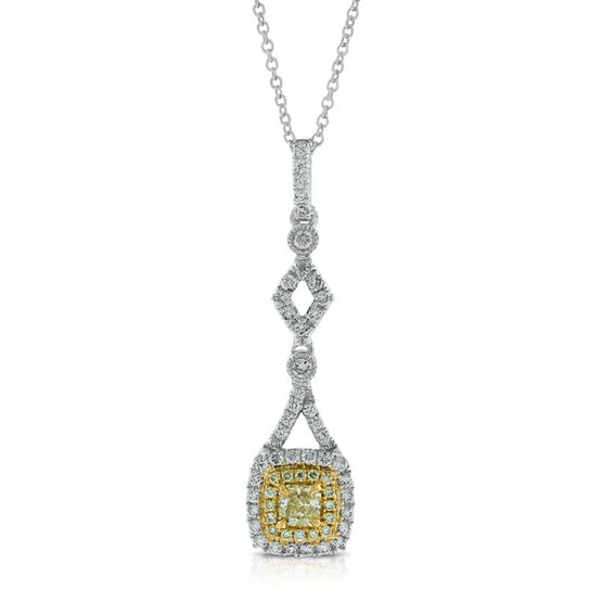 Radiant Cut Yellow Diamond Pendant 18K