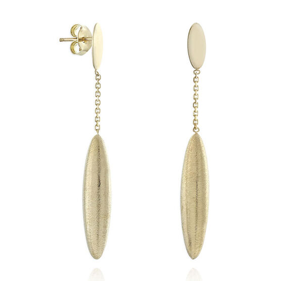 Satin Finish Drop Earrings 14K
