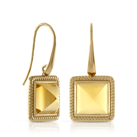 Citrine Pyramid Rope Bezel Earrings 14K