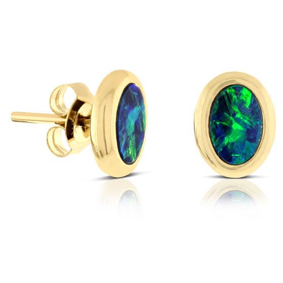 Opal Doublet Stud Earring 14K