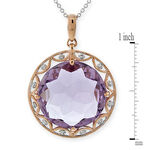 Amethyst & Diamond Pendant 14K Rose