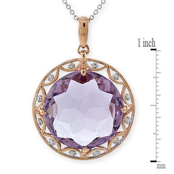 Amethyst & Diamond Pendant 14K