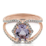 Rose Gold Oval Amethyst & Diamond Crossover Ring 14K