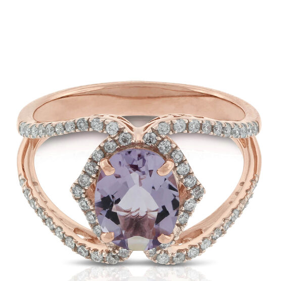 Oval Amethyst & Diamond Crossover Ring 14K