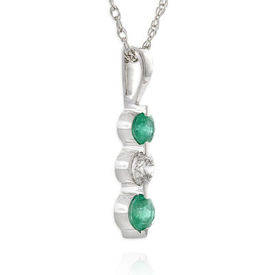 Graduated Emerald & Diamond Pendant 14K