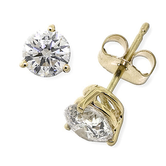 Diamond Solitaire Earrings 14K, 1 ctw.